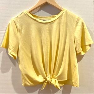 Yellow Top with Waiste Tie, slightly Cropped